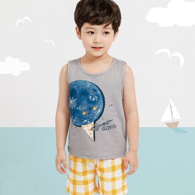 Gray Sweet Moon Singlet Set M1042