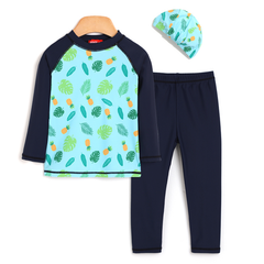 3-pc Summer Leaves Rash Guard Set OZ1020 - Preorder @ 20% Off