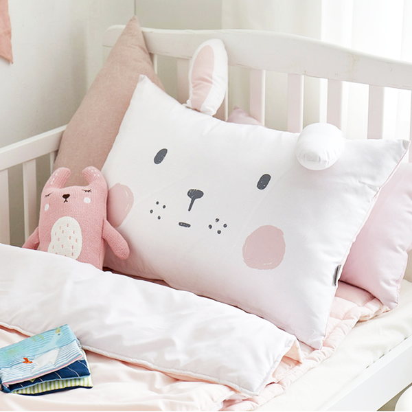 White Cony Microfibre Toddler & Kids Animal Pillow - Minitotz
