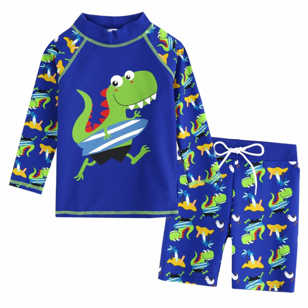2-Piece Surfing Dino Long Sleeves Rash Guard Set V1133 - Minitotz