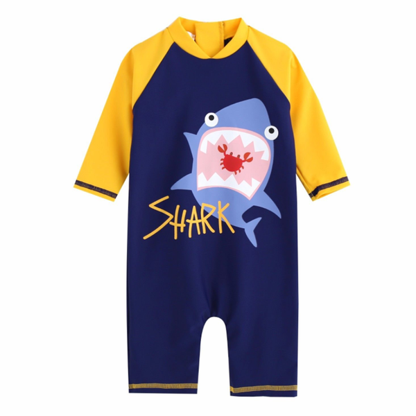 Yellow Shark Rash Guard Bodysuit V1137 - Minitotz