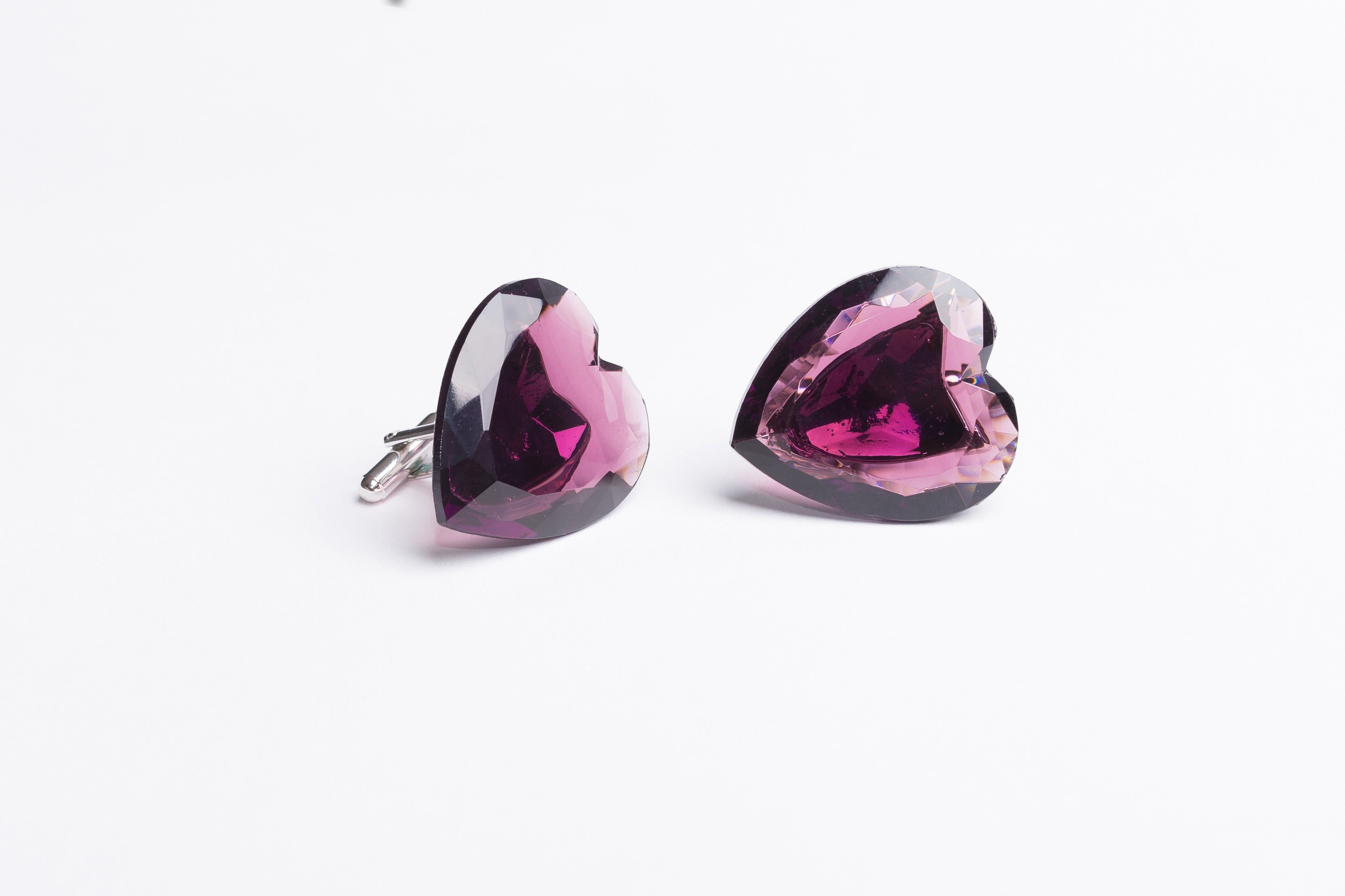 Deep Purple Rubellite Heart Cufflinks