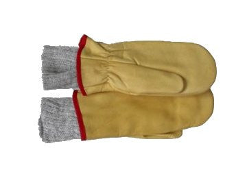 Klondike Sterling Youth Cow Grain Mittens, Knit Lined