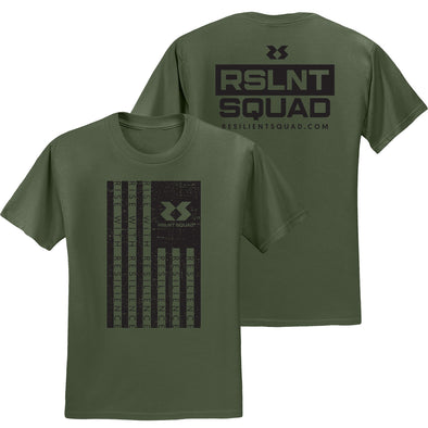 Rise With Resilience Flag Tee - Military Green