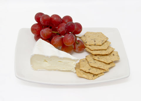 Brie with Multi Grain Crackers and Grapes