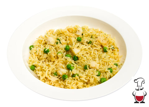 Rice Pilaf with Fish and French Peas