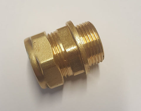Brass Fitting for Cavity Wall Insulation Bead Gun (Connected)