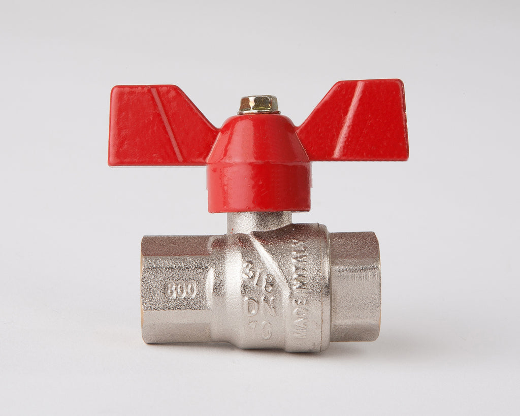 "T-Handle Full Flow Ball Valve 3/8"" Female/Female"