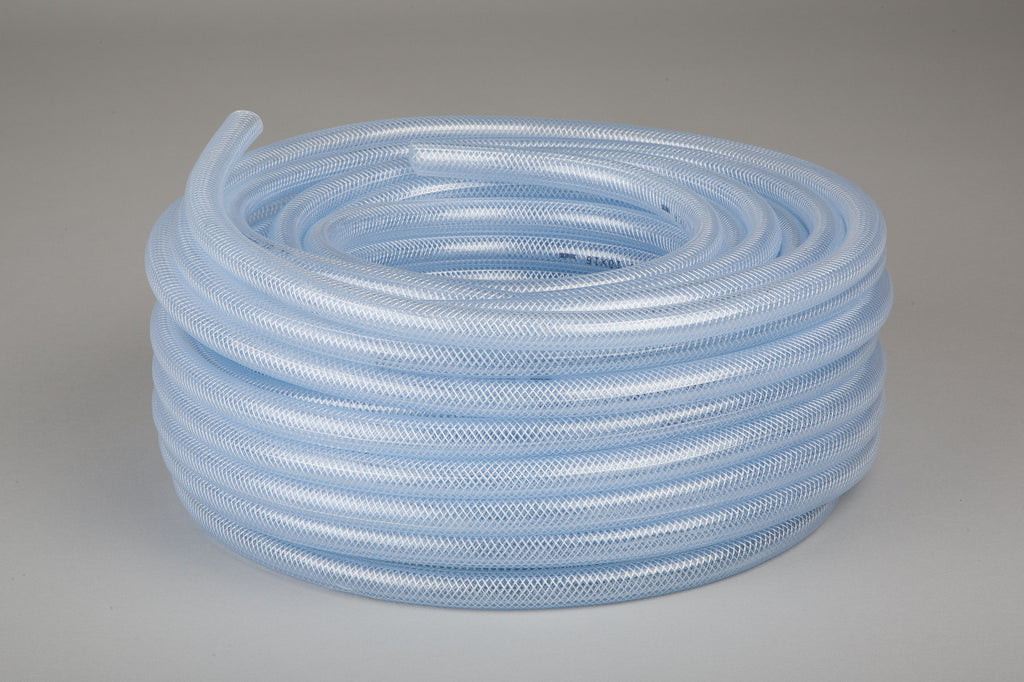 "8mm 1/4"" Clear Reinforced Braided PVC Hose - 30M"