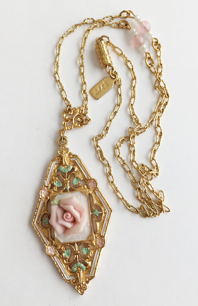 Vintage Porcelain Pink Rose Flower Pendant Necklace by 1928 - Hollee
