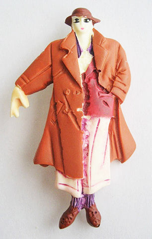 Vintage Plastic Figural Woman Pin 1980's in Trench Coat & Hat