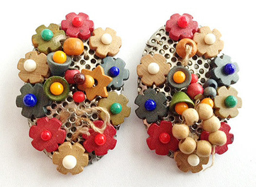 Two Vintage Czech Wood Bead Dress Clips - For Repair or Parts TLC