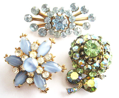 Three Vintage Glitzy Rhinestone Flower Scatter Pins