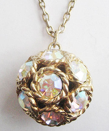 Vintage Chunky Glitzy Rhinestone Ball Pendant Necklace - Hollee