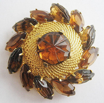 Rhinestone Navette Pin with Molded Cabochon Center - Hollee