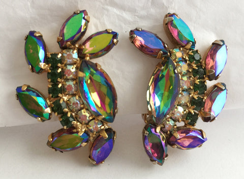 Vintage Glam Aurora Navette Rhinestone Clip Earrings