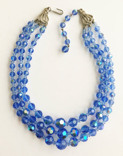Vintage Three Strand Blue Faceted Crystal Bead Necklace - Hollee