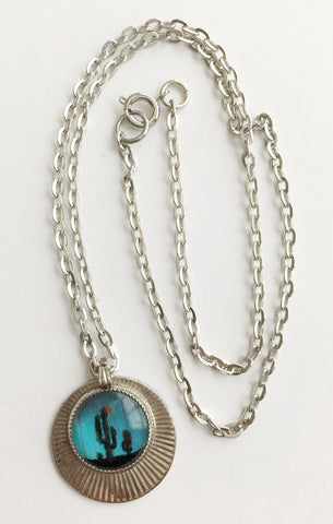 Vintage Butterfly Wing Cactus Pendant Necklace - Hollee