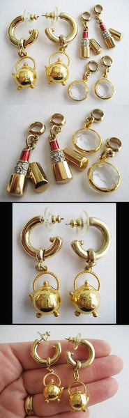Vintage 80's Earring Set with Interchangeable Charms by Carolee