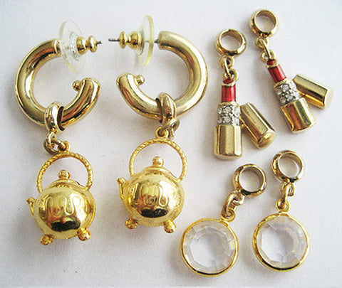 Vintage 80's Earring Set with Interchangeable Charms by Carolee - Hollee
