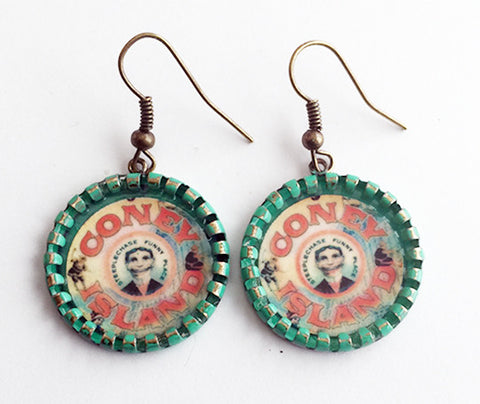 Coney Island Tillie Face Earrings Brooklyn NY - Hollee