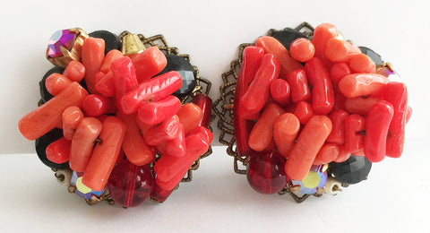Vintage Branch Coral Rhinestone & Filigree Clip Earrings