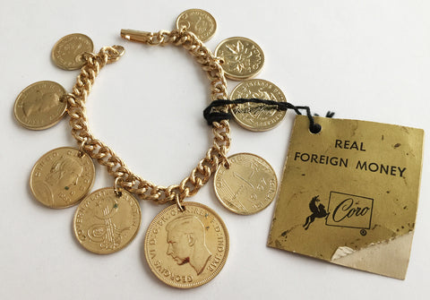 Vintage Coro Golden Coin Charm Bracelet with Original Tag