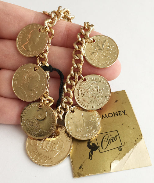 Vintage Coro Golden Coin Charm Bracelet with Original Tag - Hollee