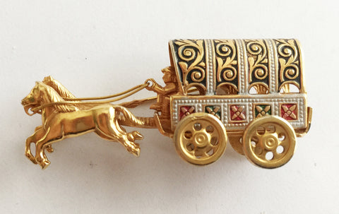 Vintage Damascene Covered Wagon and Horses Pin - Hollee