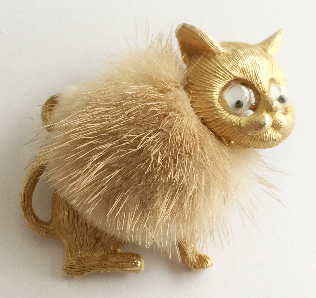 Vintage Kitty Cat Pin with Real Fur and Googly Eyes - Hollee
