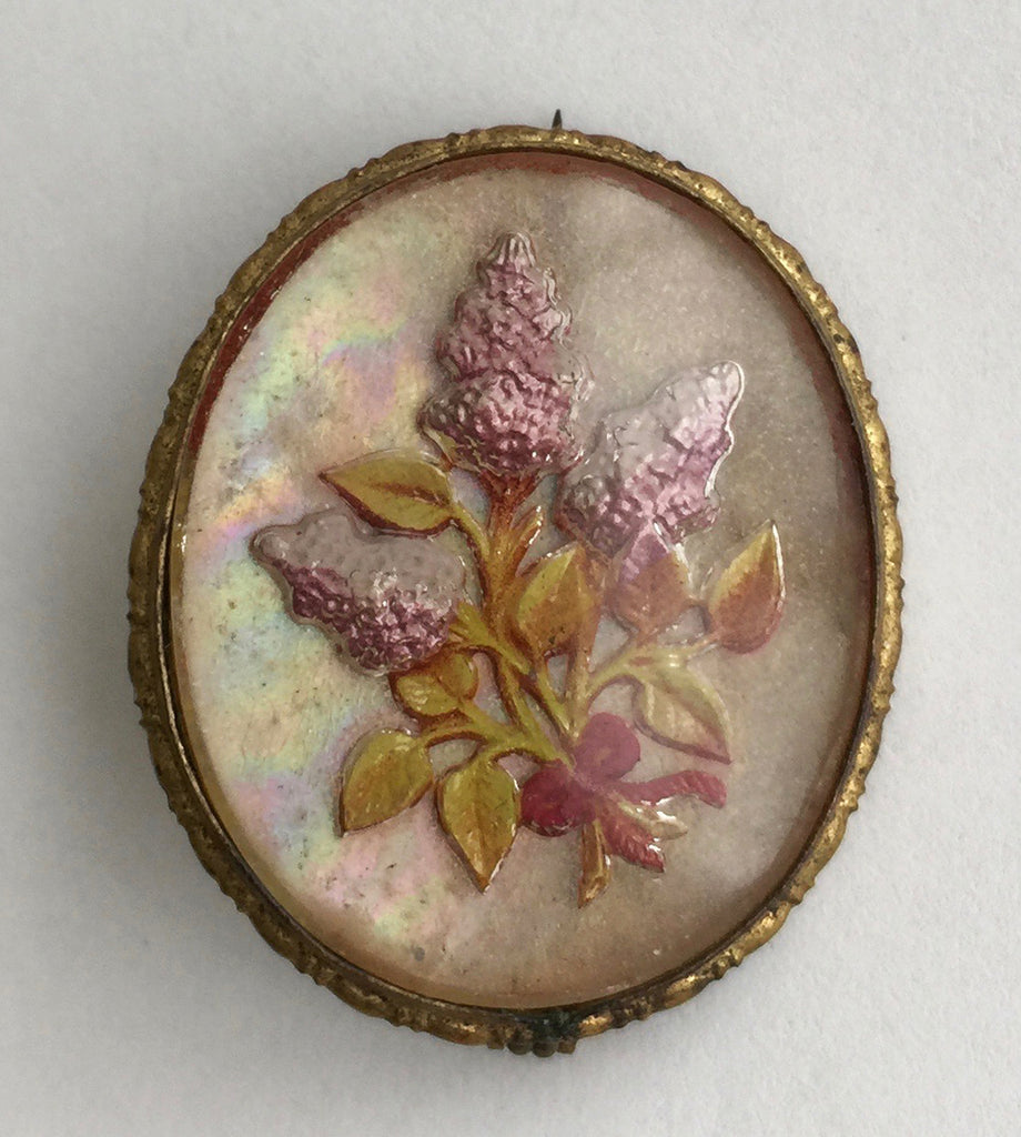 Vintage Reverse Carved Goofus Glass Lilac Flower Pin - Hollee
