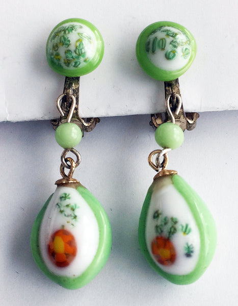 Vintage Green & White Japan Glass Drop Clip Earrings - Hollee