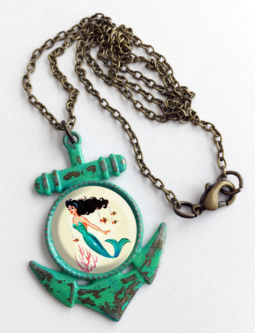 Mermaid Cabochon & Anchor Pendant Necklace