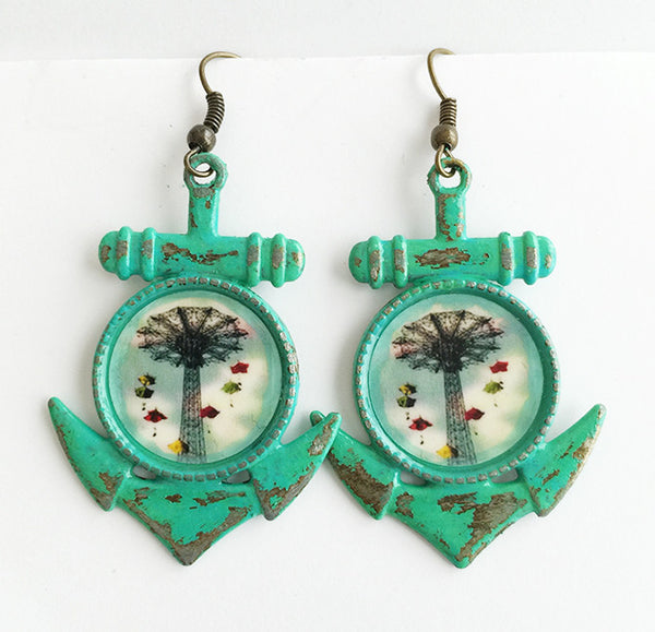 Coney Island New York Parachute Jump Anchor Earrings - Hollee