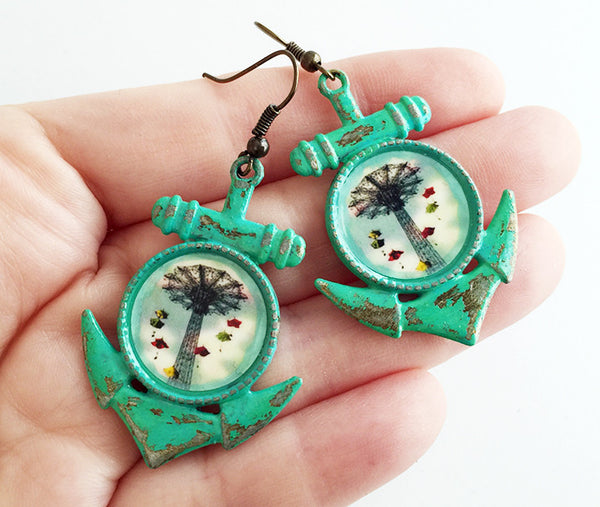 Coney Island New York Parachute Jump Anchor Earrings