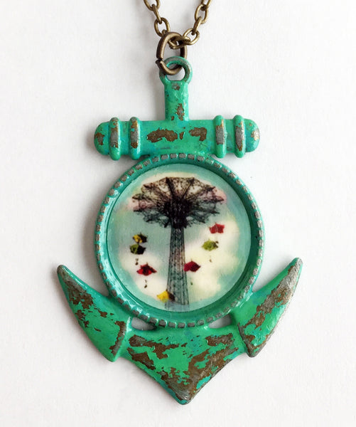 Coney Island NY Parachute Jump Anchor Pendant Necklace