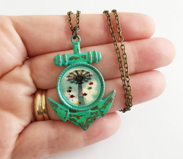 Coney Island NY Parachute Jump Anchor Pendant Necklace - Hollee