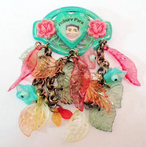 Asbury Park NJ Tillie Face Souvenir Leaves & Flowers Pin - Hollee