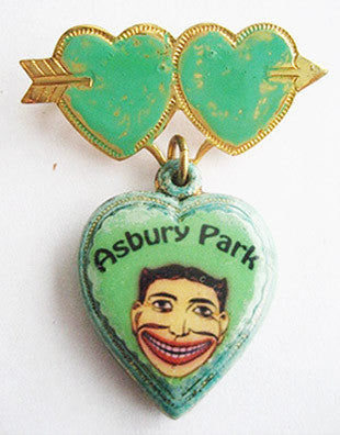 Asbury Park NJ Tillie Face Souvenir Sweetheart Heart Pin - Hollee