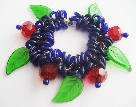 Ruby Red Beads & Cobalt Blue Glass Rings with Big Leaves Bracelet - Hollee
