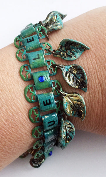 Dangling Blue Leaves Enamel & Bookchain Bracelet with Rhinestones - Hollee