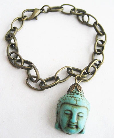 Turquoise Blue Howlite Buddha Charm Bracelet - Antiqued Gold - Hollee