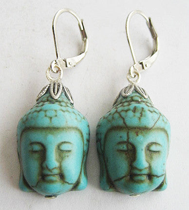 Turquoise Blue Howlite Buddha Silvertone Drop Earrings - Hollee