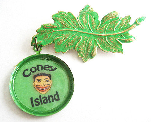 Coney Island Souvenir Leaf Pin with Tillie Funny Face