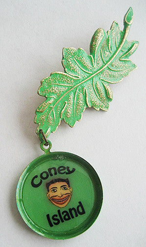 Coney Island Souvenir Leaf Pin with Tillie Funny Face - Hollee