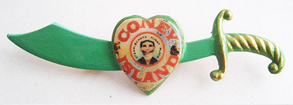 Coney Island Souvenir Enamel Sword Pin - Hollee