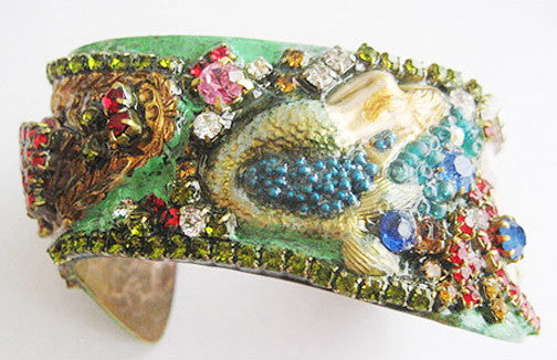 Coney Island NY Mermaid & Tillie Rhinestone Jeweled Cuff Bracelet - Hollee