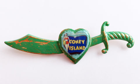 Coney Island Bathing Beauty Souvenir Enamel Sword Pin