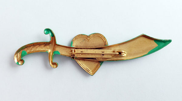 Coney Island Bathing Beauty Souvenir Enamel Sword Pin - Hollee
