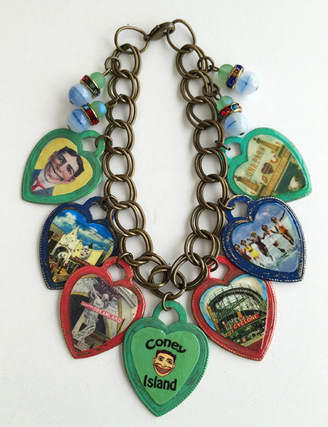 Coney Island New York Colorful Heart Charm Bracelet - Hollee